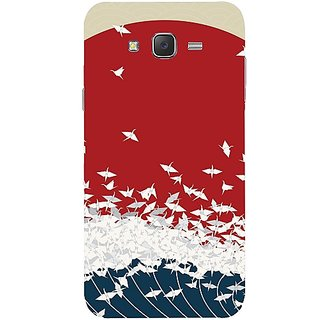Casotec Sea Waves Print Design Hard Back Case Cover for Samsung Galaxy J7