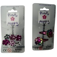 Pink Poppy Multi Coloured Flower Gem Hair Clips