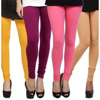 Rummy Cotton Lycra Leggings (Pack of 4) CL4MULTI0185