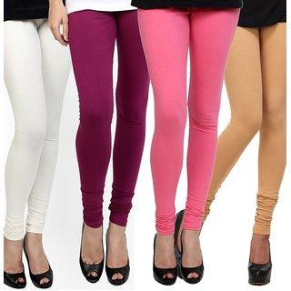 Rummy Cotton Lycra Leggings (Pack of 4) CL4MULTI0375