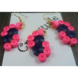 Paper Quilled Ear Rings With Necklace