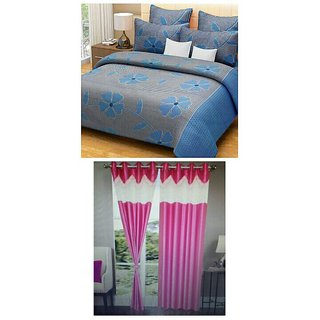 Akash Ganga Combo of 1 Blue Bedsheet  2 Pieces  Pink Curtains (BC1)