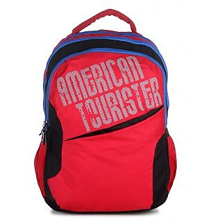 American Tourister Red Casual Polyester Backpack