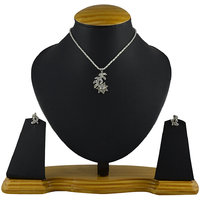 Silver Plated Silver Alloy Pendant With Chain  Earrings For Women