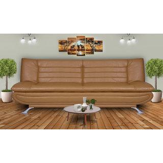 DOLPHIN ELITE MODULAR SOFA CUM BED 3- SEATER-(LEATHERRETE) -BAIGE