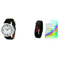 Smart LED Watch And Black Leather Strap Watch