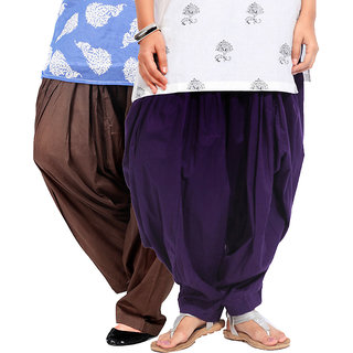 Brandtrendz Set Of 2 Cotton Patiyala Salwar (SsalwarChocoDpurpl)