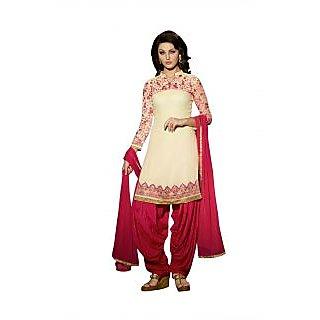 BanoRani Cream & Rani Color EmbroideryLaceZari Faux Georgette Semi Stitched Dress Material J-1547