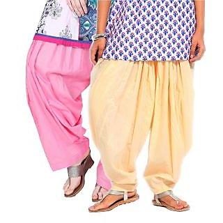 Brandtrendz Set Of 2 Cotton Patiyala Salwar (SsalwarBabypinkLemmon)