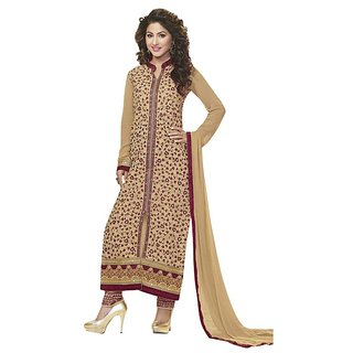 BanoRani Beige Color Faux GeorgetteFull Sleeves Embroidered UnStitched Dress Material (Pant Style) H-1476