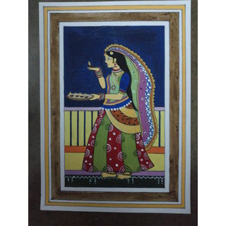 Madhubani Painting - Girl With Diyas