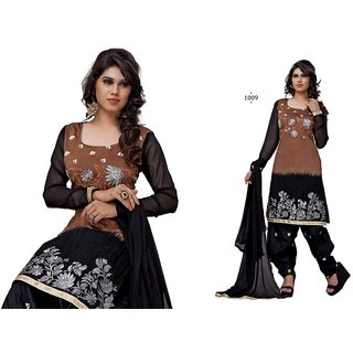 Akshar Fashion Un-stitched Dress Material For Wommen (CV11009) Black  Brown