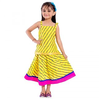 Rajasthani Traditional jaipuri Yellow color cotton Lahariya printed laghna choli