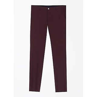 Blackberrys Slim Fit Men Trousers Red in Color Fabric Polyester Viscose Lycra