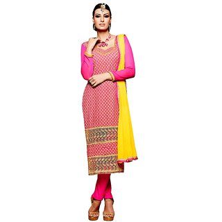 BanoRani Dark Pink Color Chiffon Embroidery UnStitched Dress Material (Chudidar) K-1430