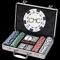 Poker Chips Casino Game 200 Pcs Diced Playing Card Set with Aluminum Breifcase