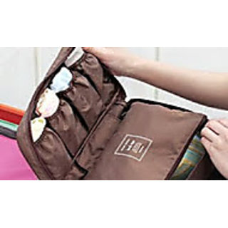 Travel Portable Underwear Lingerie Case Organizer waterproof Bag -coffee