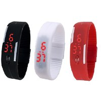 Combo Of Three Band Watches Black, White & Red For Men