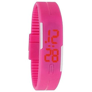 Pink LED Digital Wrist Band Watch Wristband D