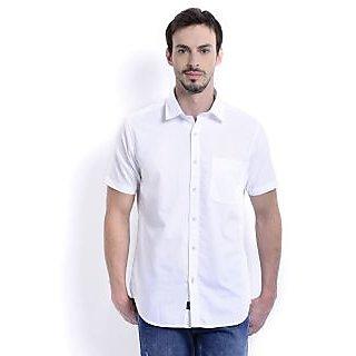 Mens Cotton Half Sleeve White Formal Shirt
