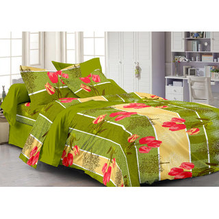 Bedspun 100 Cotton Green 1 Double Bedsheet With 2 Pillow Cover-Mg1456-Bs