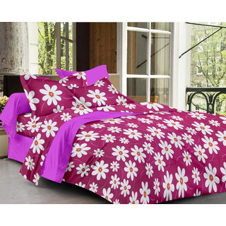 Bedspun 100 Cotton Maroon 1 Double Bedsheet With 2 Pillow Cover-Mg1426-Bs
