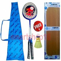 First Quality BOKA Badminton Racquet Set of 2 + Cover + 1 Shuttlecock