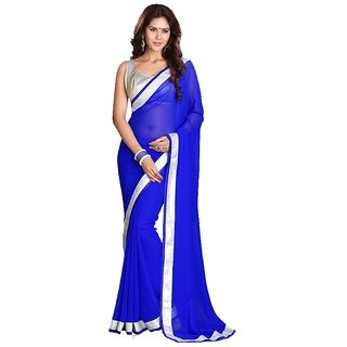 Bhuwal Fashion Blue Chiffon Lace Saree With Blouse