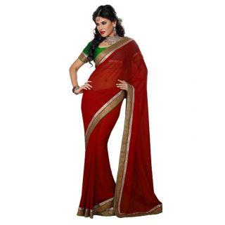 Janasya Fabulous Red chiffon sari