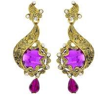 Kriaa Austrian Stone Purple Gold Finish Color Drop Earrings - 1306202