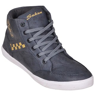 Sukun Mens Gray Lace-up Sneakers