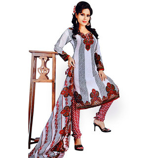 Looks White Cotton printed Unstiched suit with Dupatta