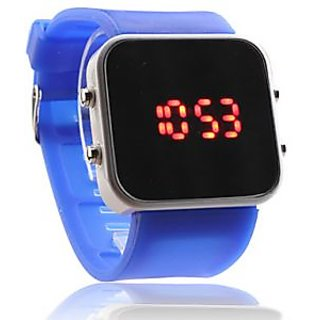 Blue Silicon Band LED Watch For Men And Women