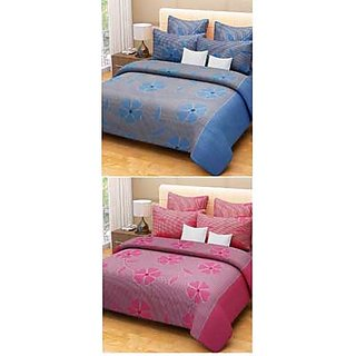 Akash Ganga Combo Set Of  Of 2 Bedsheets And 4 Pillow Covers