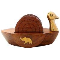 Wooden Tea Coasters Set Of 6, Round Handicraft With Brass Decor