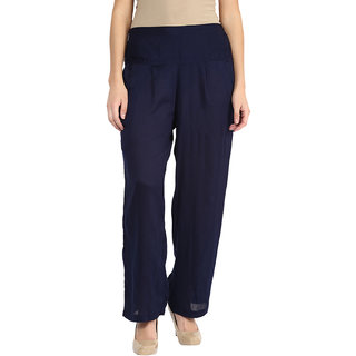 shopingfever navy blue trouser with side zipper and dori