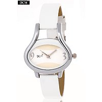 DCH Designer Case Analog Watch For Girls With 1 Year Warranty (Egg White)