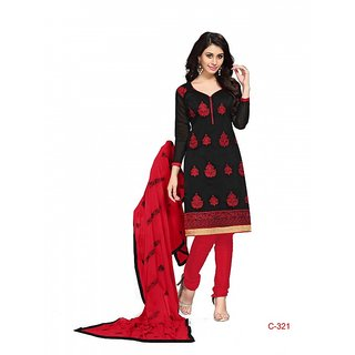 BanoRani Black  Red Chanderi EmbroideryDesigner Unstitched Dress Material