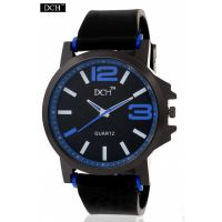 DCH Black Case Analog Watch For Men With 12 Months Warranty (Big Round Blue)