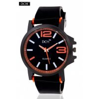 DCH Black Case Analog Watch For Men With 12 Months Warranty (Big Round Orange)