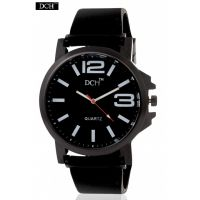 DCH Black Case Analog Watch For Men With 12 Months Warranty (Big Round White)