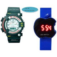 MT-G Frogman Dual Time Watch And Led Watch Apple Shape For Kids And Mens