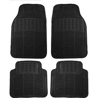 Hi Art Black Rubber Floor and Foot Mats for Datsun  Go (4 pcs.)