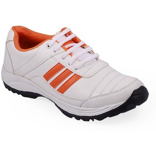 Stylos Mens Orange and White Sports Shoes