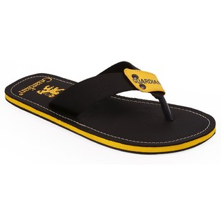 Stylos Mens Black and Yellow Slippers