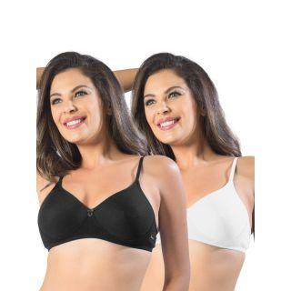 Sonari Smile Women'S T-Shirt Bra Pack Of 2 (Smileblackwhite44B)