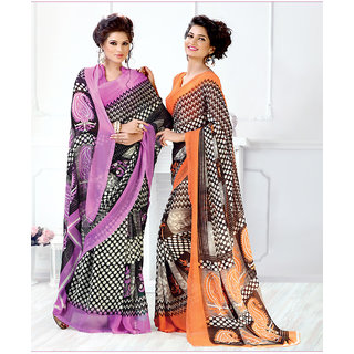 Thankar New Printed Purple and Orange Designer Saree