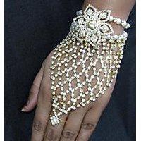 Stone Flower Golden Pearl Bracelet with Ring