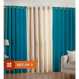 Beautiful Solid Crush Curtain-combination Of Sky Blue And Cream-set Of 3(4x7ft)