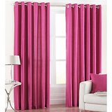 Beautiful Solid Crush Curtain -Dark Pink (set Of 2) (4x7ft)